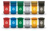 Fotografia Variopinto ricicli spazzatura bidoni insieme isolato vettore bianco