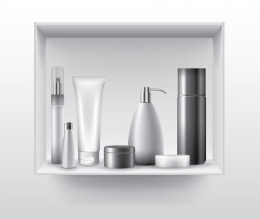 Blank cosmetic tubes on bathroom shelf, vector