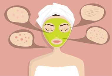 Mask for skin problems, vector illustration