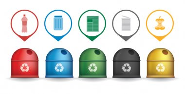 Recycle trash containers with garbage icons vector set