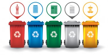Colorful recycle trash bins with garbage icons vector set