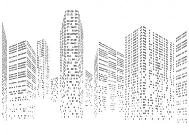 Binary code in form of futuristic city skyline