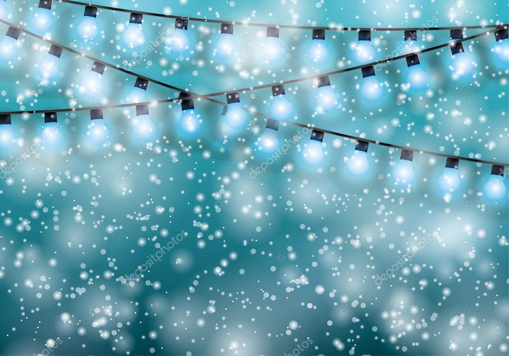 Christmas garlands glowing lights vector illustration
