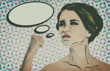 Pop art comic style woman with speech bubble