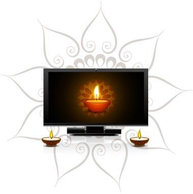 Happy diwali diya for led tv screen celebration background vecto