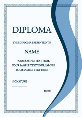 Vector illustration of blue diploma certificate