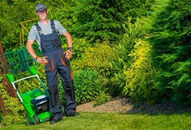 Gardener Grass Mowing