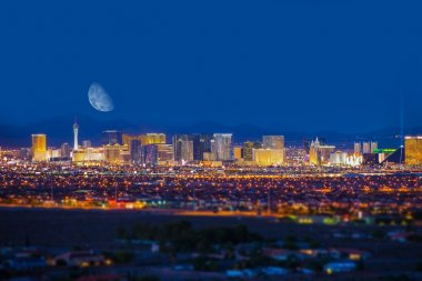Las Vegas Strip and Moon