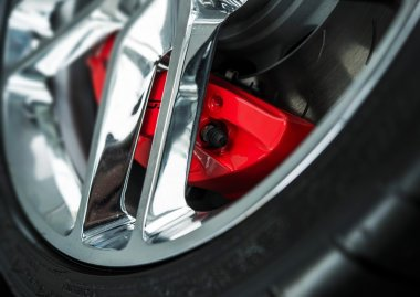Red Car Brakes Closeup