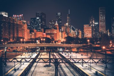 Chicago Skyline and Railroad