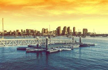 San Diego Sunset. San Diego Skyline and the Bay with Marina. San Diego, California, United States. stock vector