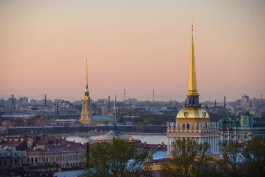 View to Admiralty, palace (Hermitage) and Peter and Paul's fortress in St.Petersburg