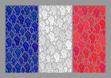 Strike France Flag - Collage with Fingers Punch Items