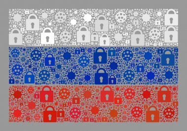 Lockdown Russia Flag - Collage of Lock Icons and Viral Cells