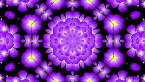 Kaleidoskop s fialovými květy