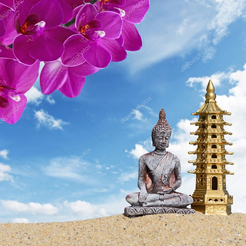 Buddhaorchid Flowers And Seven Storied Pagoda In The Sand Symbol