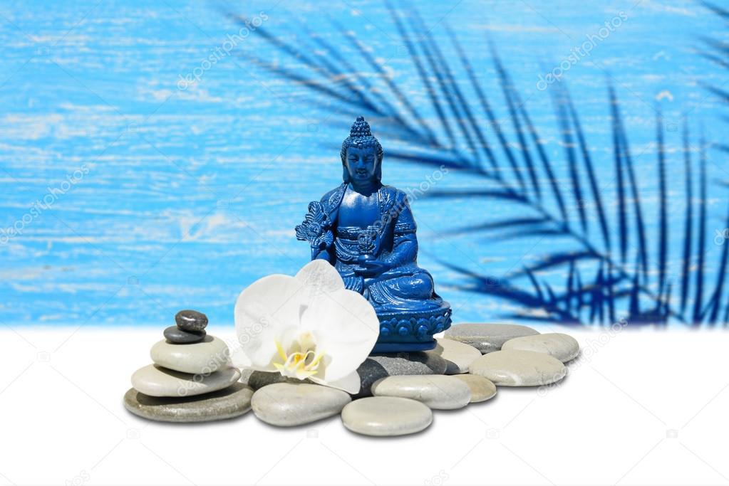 Zen o feng shui fondo azul bhaisajyaguru buda de la for Fotos piedras zen