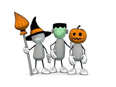 Little sketchy men on Halloween