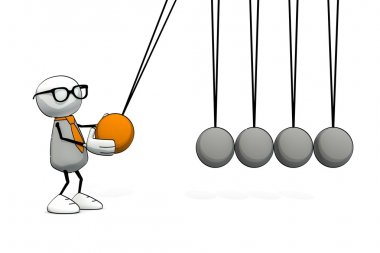 little sketchy man with tie and glasses starting a Newton cradle