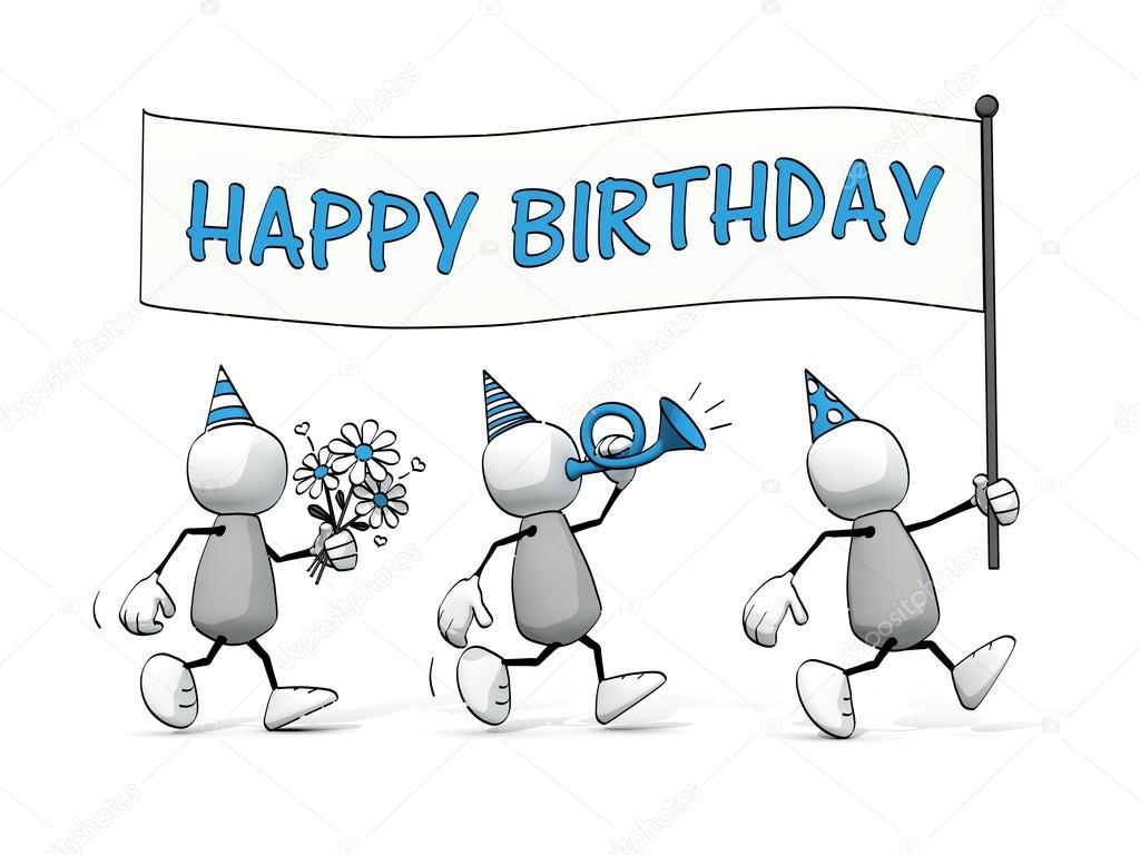 Happy Birthday Images Hombres ~ Weinig schetsmatig mannen met gelukkige verjaardag vlag stockfoto � lilu foto
