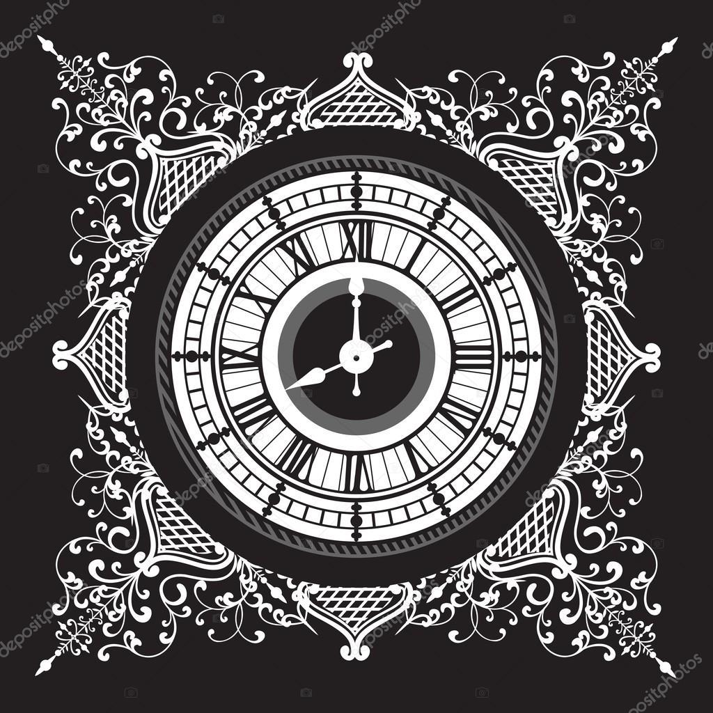 A háttérben a csipke mintás mandala fekete-fehér óra — Vektorok  marrishuannna szerint e27a28d26e