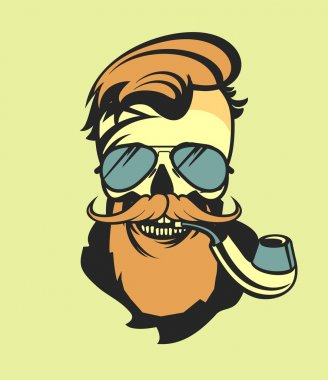 bearded skull with a pipe