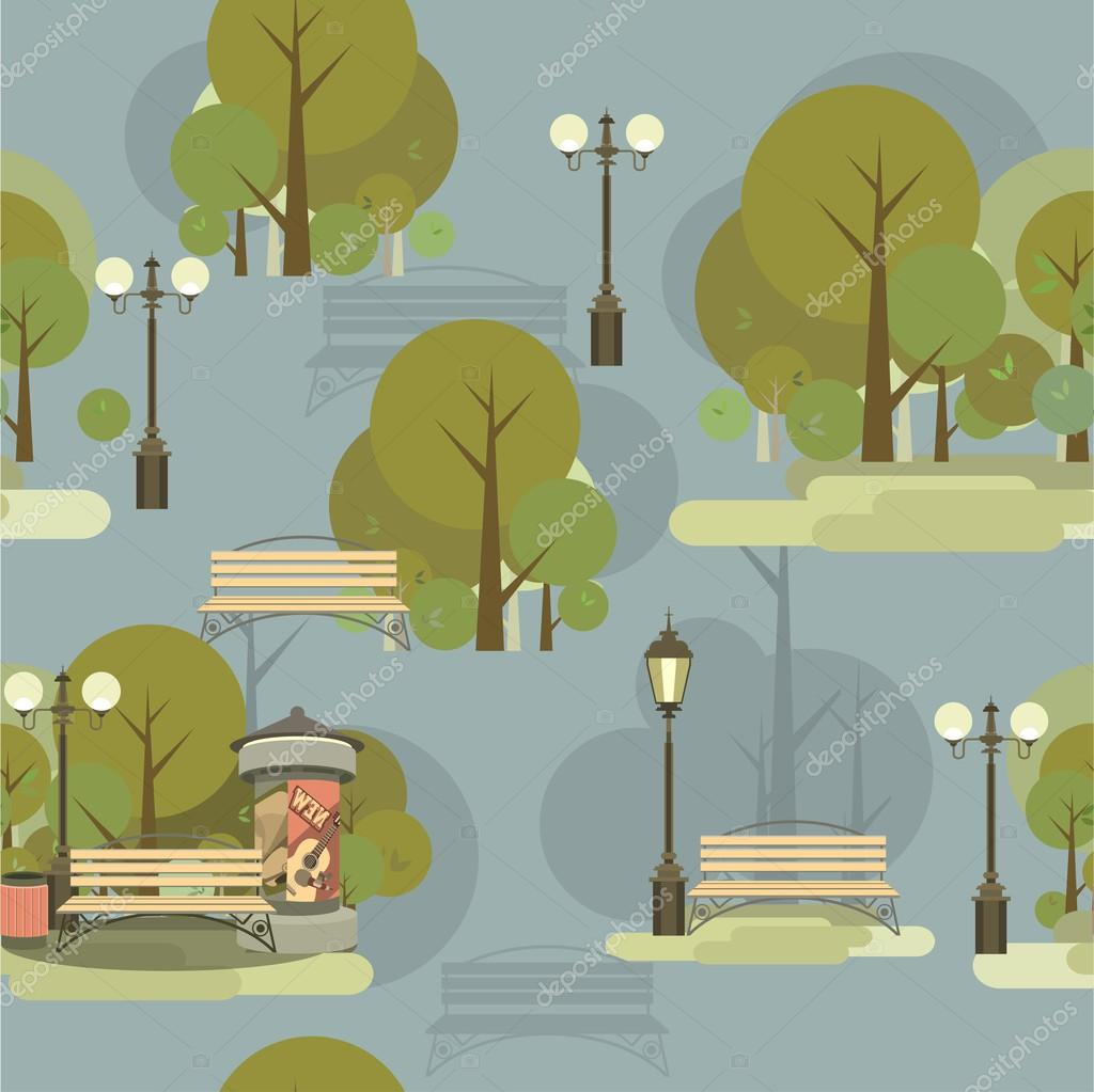 Seamless pattern of city park