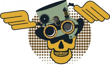 Steampunk mechanism skull
