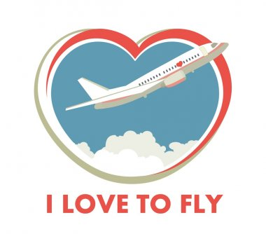 The plane on a background of the sky in the form of heart logo on white background stock vector