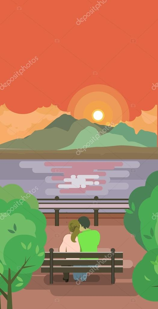lovers on a bench watching the sunrise