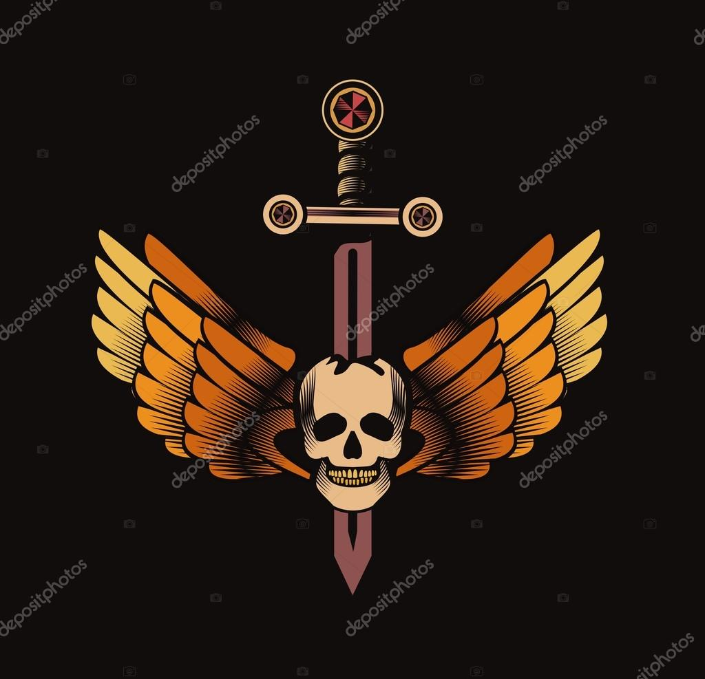 Vintage Skull With Sword And Wings Emblem Stock Vector
