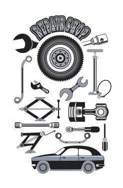 set of tools for repairing cars