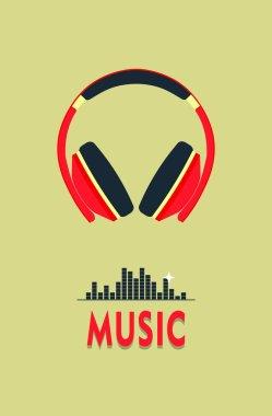 poster music on headphones