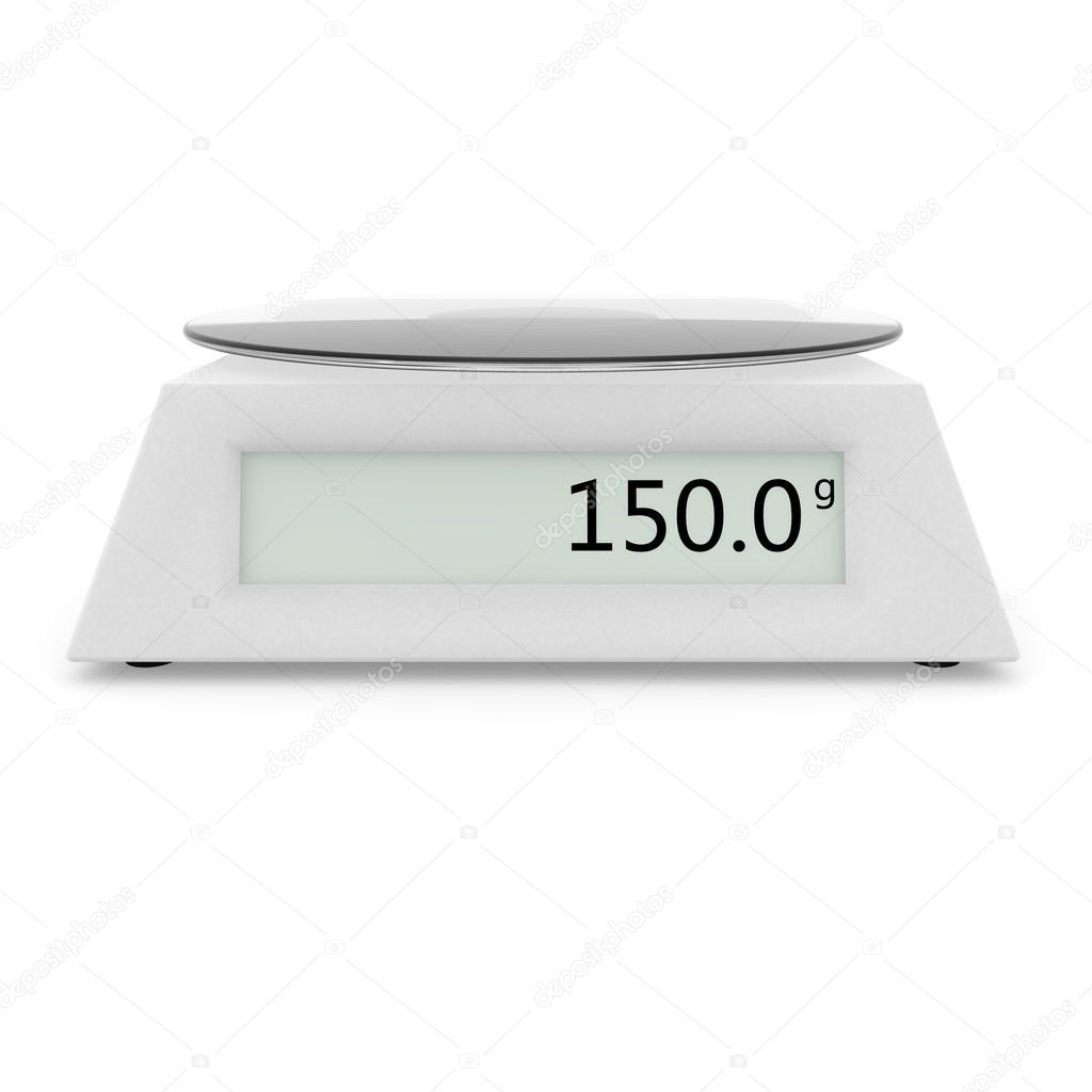 Balan A De Cozinha Digital Mostrar 150 Gramas Stock Photo  ~ Balança Para Cozinha Digital
