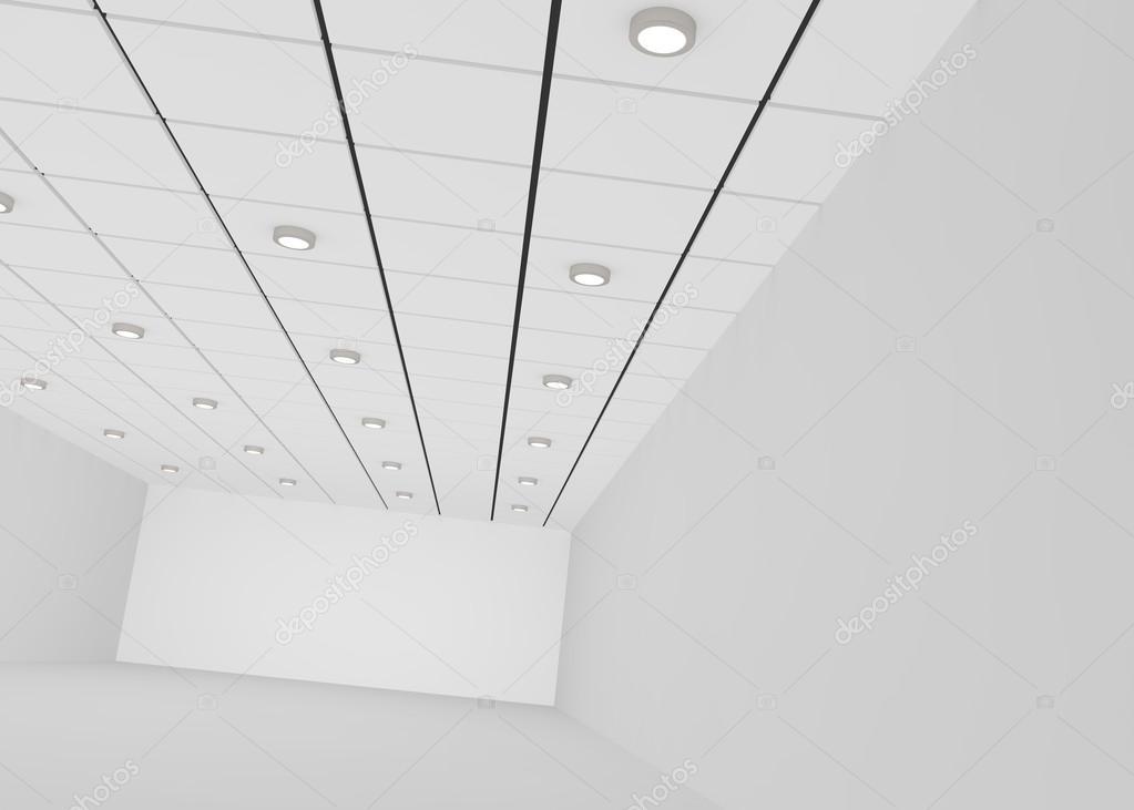 Blanc chambre vide pour un magasin ou un bureau avec des lumières au  plafond. illustration 3D — Image de injenerker bc873db238fe