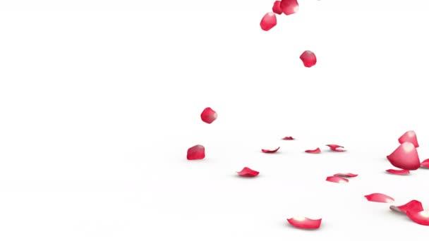 Červené okvětní lístky vlající na podlahu ze strany. Alfa maska