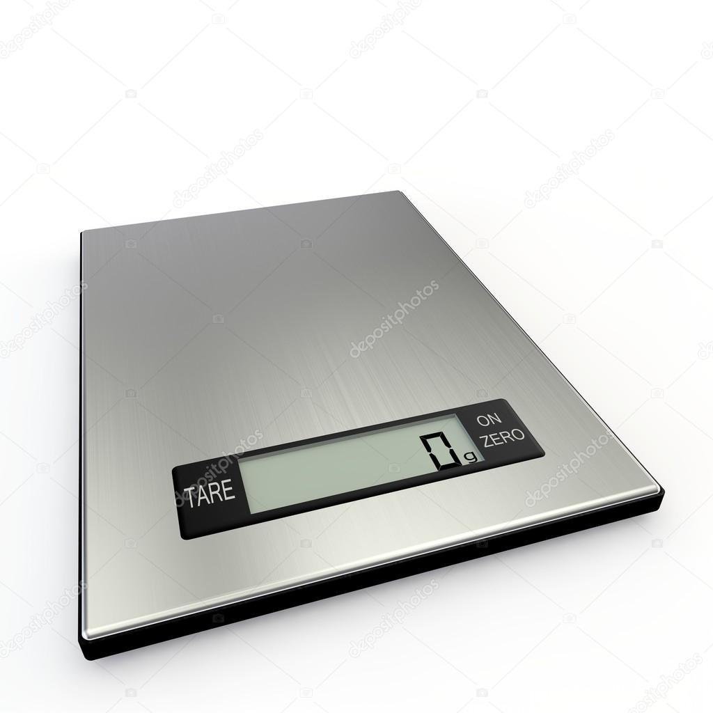 Báscula de cocina electrónica muestra cero gramos — Foto de stock ...
