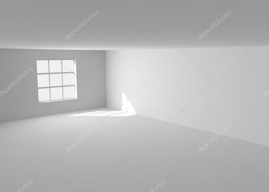 leerer wei er raum mit fenster stockfoto injenerker 99165242. Black Bedroom Furniture Sets. Home Design Ideas