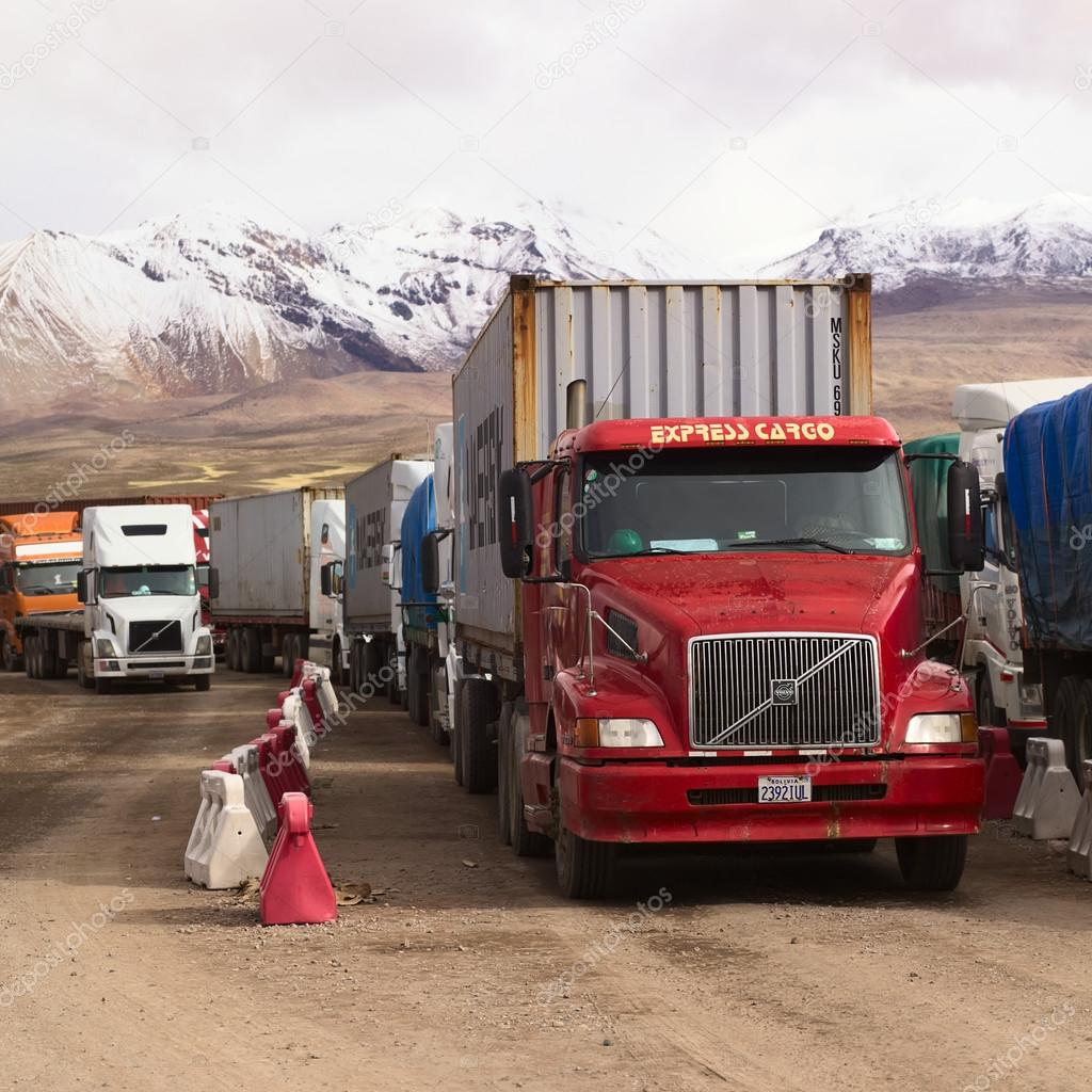 Trucks Standing on Bolivian-Chilean Border