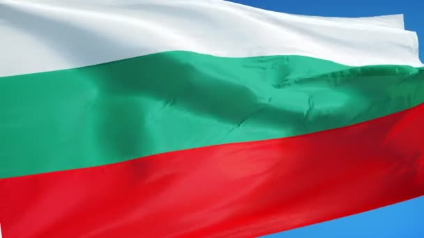 Bulgaria flag in slow motion seamlessly looped with alpha