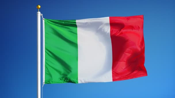 Italy flag in slow motion seamlessly looped with alpha
