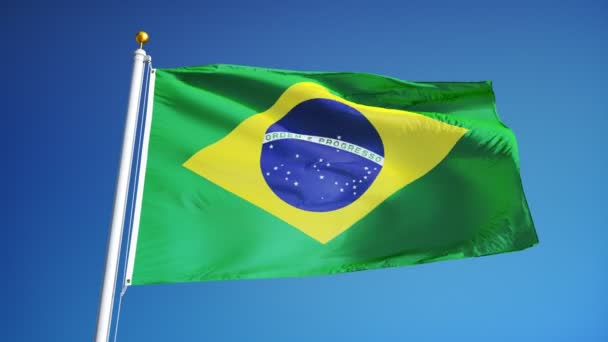Brazil flag in slow motion seamlessly looped with alpha