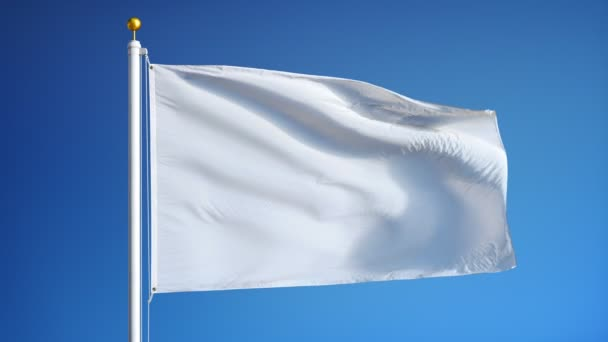 Empty white clear flag in slow motion seamlessly looped with alpha