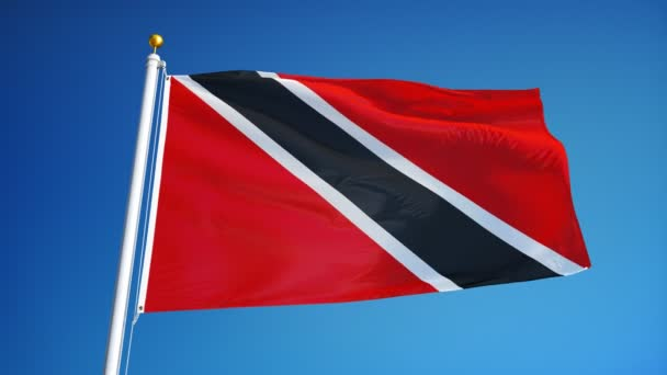 Trinidad and Tobago flag in slow motion seamlessly looped with alpha
