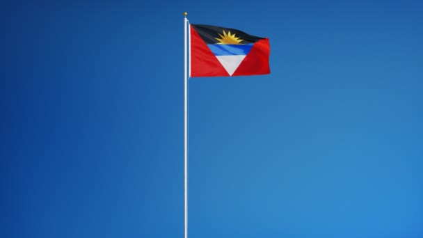 Antigua and Barbuda flag in slow motion seamlessly looped with alpha