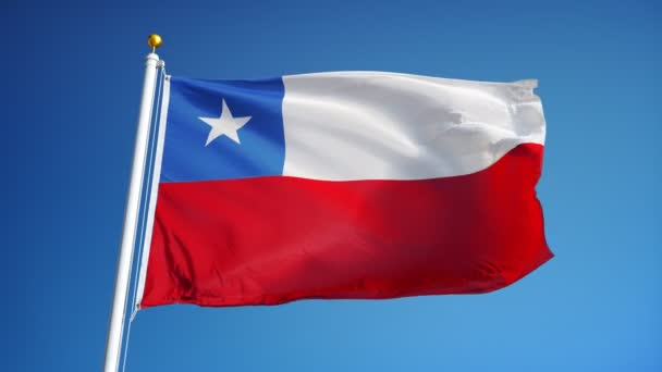 Chile flag in slow motion seamlessly looped with alpha