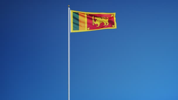 Sri Lanka flag in slow motion seamlessly looped with alpha