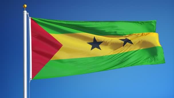 Sao Tome és Principe zászló lassítva zökkenőmentesen végtelenített az alfa