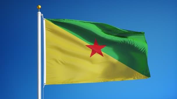 Vlajka Francouzské Guyany v pomalém pohybu bez problémů s alfa