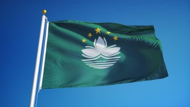 Makaó zászlót lassítva zökkenőmentesen végtelenített alfa